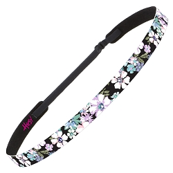 Hipsy Adjustable NO SLIP Pastel Flowers Black Skinny Headband