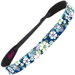 Hipsy Adjustable NO SLIP Pastel Flowers Navy Wide Headband